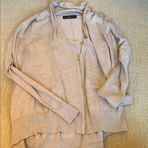 Beige Zara Knit zip-up pullover sweater